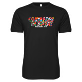 Next Level SoftStyle Black T Shirt-Comrades In Sweat - World Flags