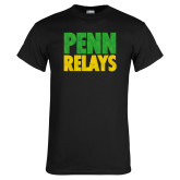 Black T Shirt-Penn Relays Stacked - Jamaica Colors