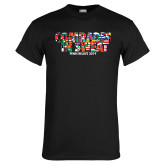 Black T Shirt-Comrades In Sweat - World Flags
