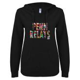 ENZA Ladies Black V-Notch Raw Edge Fleece Hoodie-World Flags Penn Relays