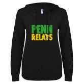 ENZA Ladies Black V-Notch Raw Edge Fleece Hoodie-Penn Relays Stacked - Jamaica Colors