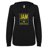 ENZA Ladies Black V-Notch Raw Edge Fleece Hoodie-Jam Penn Relays In Box