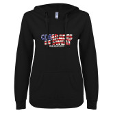ENZA Ladies Black V-Notch Raw Edge Fleece Hoodie-Comrades In Sweat - USA Flag