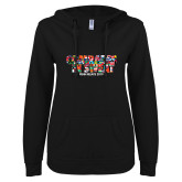 ENZA Ladies Black V-Notch Raw Edge Fleece Hoodie-Comrades In Sweat - World Flags