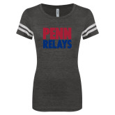 ENZA Ladies Black/White Vintage Triblend Football Tee-Penn Relays Stacked