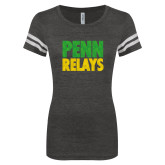 ENZA Ladies Black/White Vintage Triblend Football Tee-Penn Relays Stacked - Jamaica Colors