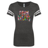 ENZA Ladies Black/White Vintage Triblend Football Tee-World Flags Penn Relays