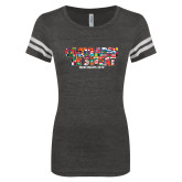 ENZA Ladies Black/White Vintage Triblend Football Tee-Comrades In Sweat - World Flags