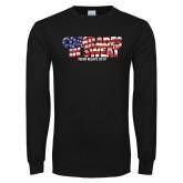 Black Long Sleeve TShirt-Comrades In Sweat - USA Flag
