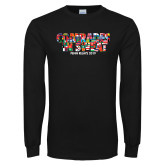 Black Long Sleeve TShirt-Comrades In Sweat - World Flags