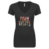 Next Level Ladies Vintage Black Tri Blend V-Neck Tee-World Flags Penn Relays