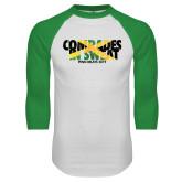 White/Kelly Green Raglan Baseball T Shirt-Comrades In Sweat - Jamaica Flag