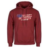 Cardinal Fleece Hoodie-Comrades In Sweat - USA Flag