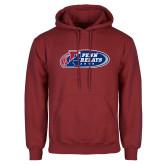 Cardinal Fleece Hoodie-Penn Relays 2018 Logo