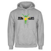 Grey Fleece Hoodie-Penn Relays Jamaica Flag
