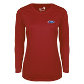 Ladies Syntrel Performance Cardinal Longsleeve Shirt-Penn Relays 2018 Logo