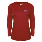 Ladies Syntrel Performance Cardinal Longsleeve Shirt-Penn Relays Logo