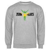 Grey Fleece Crew-Penn Relays Jamaica Flag