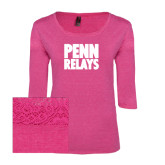 Ladies Dark Fuchsia Heather Tri Blend Lace 3/4 Sleeve Tee-Penn Relays Stacked