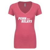 Next Level Ladies Vintage Pink Tri Blend V-Neck Tee-Penn Relays 2018 Step Stack