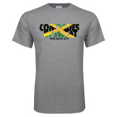 Grey T Shirt-Comrades In Sweat - Jamaica Flag