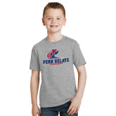 Youth Grey T-Shirt-Penn Relays Philadelphia Scripted