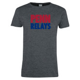 Ladies Dark Heather T Shirt-Penn Relays Stacked
