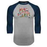 Grey/Navy Raglan Baseball T Shirt-World Flags Penn Relays