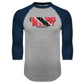 Grey/Navy Raglan Baseball T Shirt-Comrades In Sweat - Trinidad Flag
