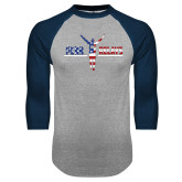 Grey/Navy Raglan Baseball T Shirt-Penn Relays USA