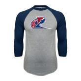 Grey/Navy Raglan Baseball T Shirt-Penn Relays
