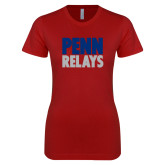 Next Level Ladies SoftStyle Junior Fitted Cardinal Tee-Penn Relays Stacked
