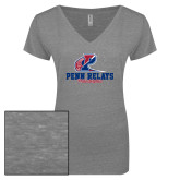ENZA Ladies Graphite Melange V Neck Tee-Penn Relays Philadelphia Scripted