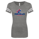 ENZA Ladies Dark Heather/White Vintage Triblend Football Tee-Penn Relays Philadelphia Scripted