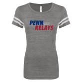 ENZA Ladies Dark Heather/White Vintage Triblend Football Tee-Penn Relays 2017 Step Stack