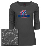 Ladies Charcoal Heather Tri Blend Lace 3/4 Sleeve Tee-Penn Relays Philadelphia Scripted
