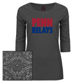 Ladies Charcoal Heather Tri Blend Lace 3/4 Sleeve Tee-Penn Relays Stacked