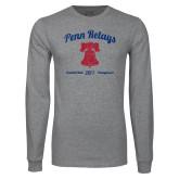 Grey Long Sleeve T Shirt-Penn Relays w/ Liberty Bell Script