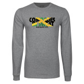 Grey Long Sleeve T Shirt-Comrades In Sweat - Jamaica Flag