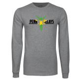 Grey Long Sleeve T Shirt-Penn Relays Jamaica Flag