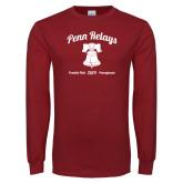 Cardinal Long Sleeve T Shirt-Penn Relays w/ Liberty Bell Script