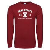 Cardinal Long Sleeve T Shirt-Penn Relays w/ Liberty Bell