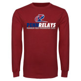 Cardinal Long Sleeve T Shirt-Penn Relays Franklin Field 2018 Stacked