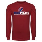 Cardinal Long Sleeve T Shirt-Penn Relays Franklin Field Stacked