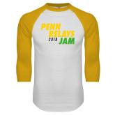White/Gold Raglan Baseball T-Shirt-Penn Relays Jam 2018
