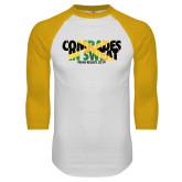 White/Gold Raglan Baseball T-Shirt-Comrades In Sweat - Jamaica Flag