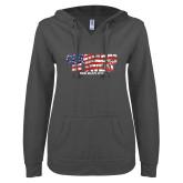 ENZA Ladies Dark Heather V-Notch Raw Edge Fleece Hoodie-Comrades In Sweat - USA Flag