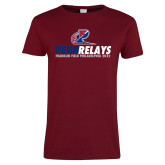 Ladies Cardinal T Shirt-Penn Relays Franklin Field 2017 Stacked