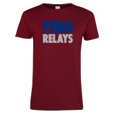 Ladies Cardinal T Shirt-Penn Relays Stacked