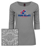 Ladies Grey Heather Tri Blend Lace 3/4 Sleeve Tee-Penn Relays Philadelphia Scripted